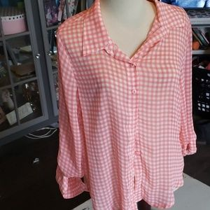 Pink and White Plaid Sheer Button Up